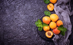 Картинка листья, фон, ткань, абрикос