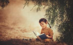 Картинка фон, девочка, книга