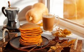 Картинка кофе, еда, завтрак, тыква, оладьи