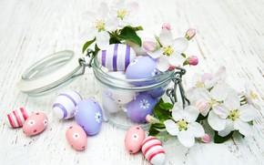 Картинка ветка, весна, Пасха, цветочки, eggs, баночка, Olena Rudo