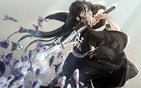 Картинка девушка, рыба, меч