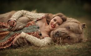 Картинка взгляд, морда, девушка, улыбка, медведь, обнимашки, Юлия Кубар
