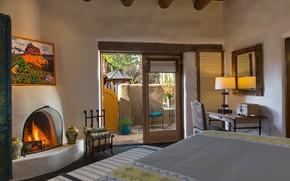 Картинка дизайн, стиль, интерьер, камин, спальня, терраса, house in New Mexico