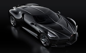 Картинка машина, черный, фары, Bugatti, стильный, гиперкар, La Voiture Noire