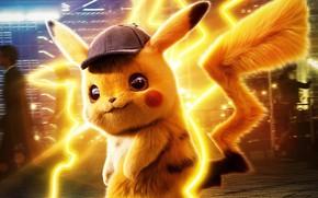 Картинка жёлтый, фантастика, кепка, Пикачу, сыщик, Pokémon Detective Pikachu, Покемон. Детектив Пикачу