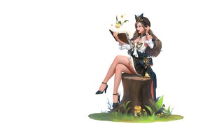 Картинка девушка, аниме, арт, книга, пенёк, illust, terin kim