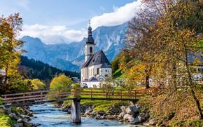 Картинка осень, деревья, горы, мост, река, Германия, Бавария, церковь, Germany, Bavaria, Bavarian Alps, Баварские Альпы, Рамзау, …