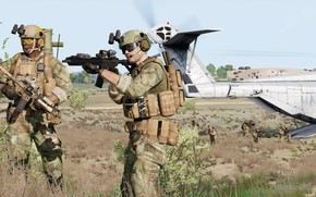 Картинка gun, USA, game, soldier, weapon, man, rifle, helmet, uniform, camouflage, Americans, kabuto, US MARSOC Raiders, …