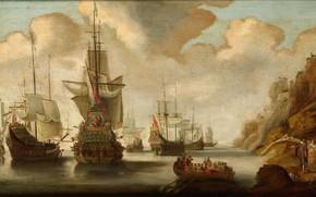Картинка масло, картина, морской пейзаж, Jacob Adriaensz Bellevois, Французская эскадра у скалистого берега, 1676, Якоб Адрианц …