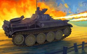 Картинка Германия, Огонь, лёгкий танк, PzKpfw II, Панцерваффе, Танкист, Огнемётный танк