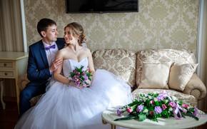 Картинка девушка, цветы, букет, платье, влюбленные, невеста, свадьба, жених