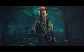 Картинка лес, девушка, брызги, оранжевый, пальмы, оружие, фон, фильм, игра, вечер, тату, джунгли, прическа, автомат, girl, …