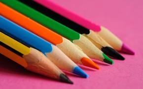 Картинка макро, фон, цветные, карандащи