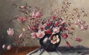 Картинка картина, натюрморт, живопись, весенние цветы, Camilla Gobl-Wahl, Цветущие магнолии