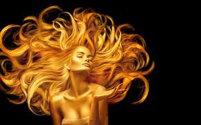Картинка девушка, макияж, золотой, длинные, фотомодель, Анна Субботина