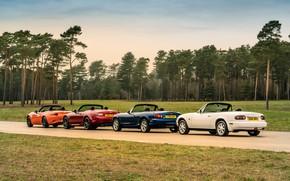 Картинка Mazda, MX-5, в ряд, родстеры, четыре поколения (NA-NB-NC-ND)