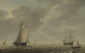Картинка корабль, картина, парус, морской пейзаж, Simon de Vlieger, A Dutch Man-of-war and Various Vessels in …