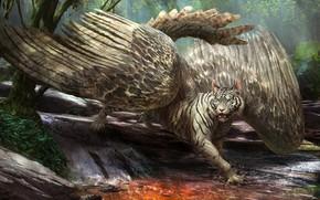 Картинка тигр, фон, крылья