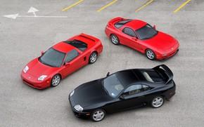 Картинка Red, Black, Toyota Supra, Mazda RX-7, Honda NSX
