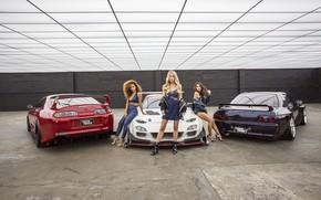 Картинка авто, взгляд, Девушки, Mazda RX-7, красивые девушки, Alyshia Barragan, позируют над машинами, Stacey Hash, Laura …
