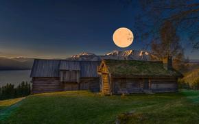 Картинка пейзаж, горы, природа, рассвет, луна, дома, утро, Норвегия, Jørn Allan Pedersen