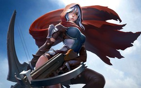 Картинка warrior, hood, cape, artwork, crossbow, fantasy art, girl, Archer, weapon, leather armor, armor, fantasy