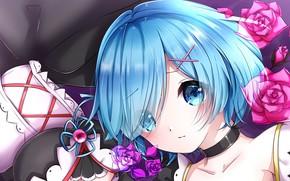 Картинка взгляд, девушка, цветы, заколки, Рем, Re Zero Kara Hajimeru Isekai Seikatsu