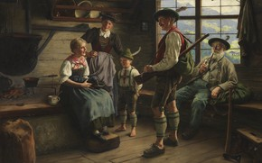 Картинка 1919, German painter, немецкий живописец, Emil Rau, Эмиль Рау, Rast des Jägers auf der Alm, ...