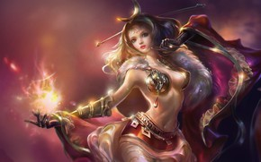 Картинка волшебство, магия, чародейка, легенды, красивая девочка, фантазийный арт, густые волосы, огонь в руке