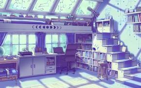 Картинка Комната, Окна, Вещи, Art, Wall, Illustration, Room, Книги, Window, Apartment, Books, Стенка, Things, Line Art, …