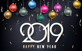Картинка золото, шары, colorful, Новый Год, цифры, golden, черный фон, black, balls, background, New Year, Happy, …