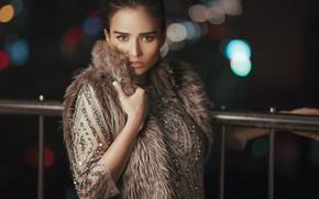 Картинка взгляд, девушка, платье, брюнетка, поручень, боке, жилет, Ali Pazani
