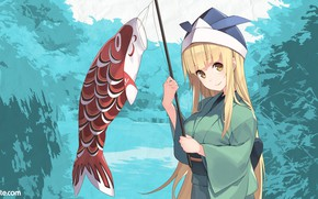 Картинка рыба, арт, девочка, DLsite
