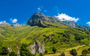 Картинка небо, облака, склоны, гора