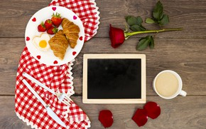 Картинка hearts, сердечки, любовь, розы, valentine, romantic, круассаны, love, roses, завтрак, croissant, чашка кофе, coffee cup, …