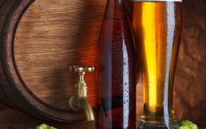 Картинка пена, пиво, бочка, хмель