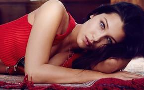 Картинка взгляд, девушка, поза, модель, брюнетка, Bella Hadid