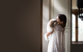 Картинка дом, собака, девочка