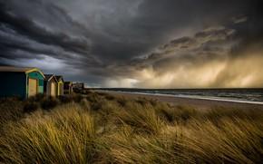 Картинка storm, sunset, clouds, Beach box, Chelsea beach