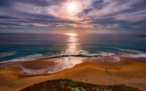 Картинка пляж, восход, океан, рассвет, побережье, утро, горизонт, Калифорния, Pacific Ocean, California, Тихий океан, Garrapata State …
