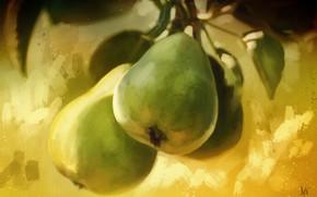 Картинка зелень, холст, груши