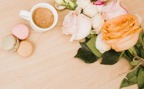 Картинка цветы, розы, pink, flowers, coffee cup, roses, macaroon, эустома, macaron, чашка кофе, макаруны, eustoma