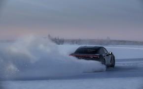 Картинка снег, чёрный, лёд, Porsche, трек, скольжение, 2020, Taycan, Taycan 4S