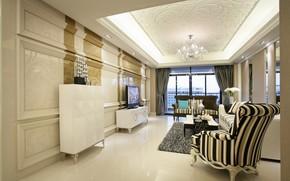 Картинка диван, мебель, интерьер, окно, кресла, люстра, столик, гостиная, плазма