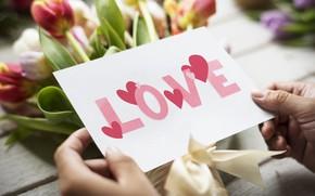 Картинка Love, букет, тюльпаны, открытка, Valentines day