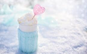 Картинка природа, тепло, розовый, голубой, сердце, сливки, кружка, heart, winter, snow, morning, cup, cream, outdoor, кружка …