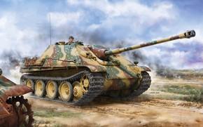 Картинка САУ, Jagdpanther, Истребитель танков, немецкая самоходно-артиллерийская установка, Ягдпантера, Sd.Kfz.173