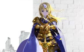 Картинка девушка, меч, доспехи, Sword Art Online, Мастера Меча Онлайн: Алисизация