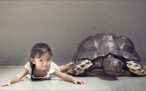 Картинка girl, two, children, kid, turtle, other, Oops
