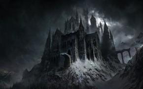 Картинка Зима, Горы, Ночь, Дворец, Замок, Тучи, Fantasy, Clouds, Архитектура, Арт, Art, Winter, Night, Palace, Фантастика, …